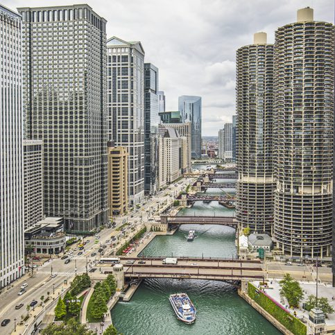Aerial view of Downtown Chicago River.